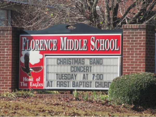 "Florence Middle School - Home of the Eagles - proud of their ""band"""