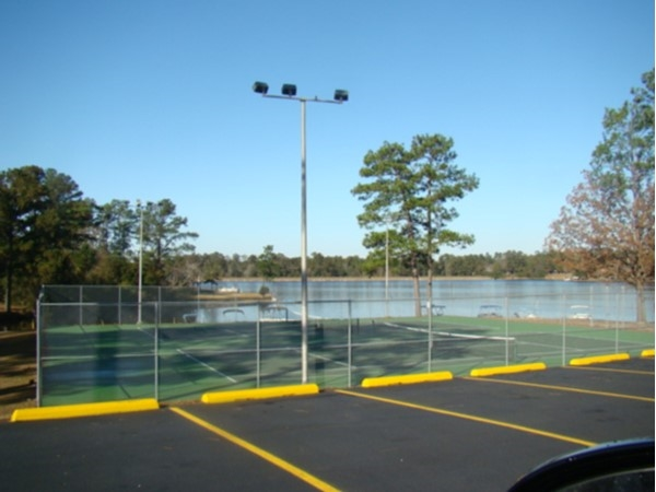 This tennis court is just one of the many amenties Hide-A-Way Lake has to offer