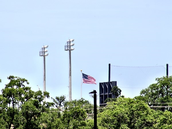 The American flag flying over MGM Park, home of the Shuckers baseball team